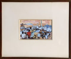 St. Maxime, Signed 1950's Gouache Painting by Alexandre Sacha Garbell