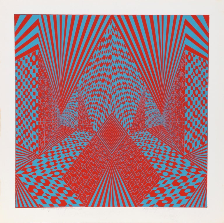 """""""Conceptual Perspective IV"""", 1969, Serigraph by Roy Ahlgren"""