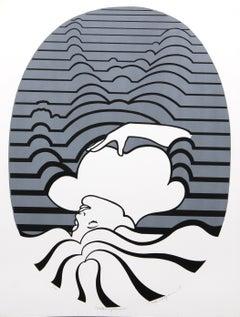 """Metamorphosis"", Op Art Serigraph by Roy Ahlgren"