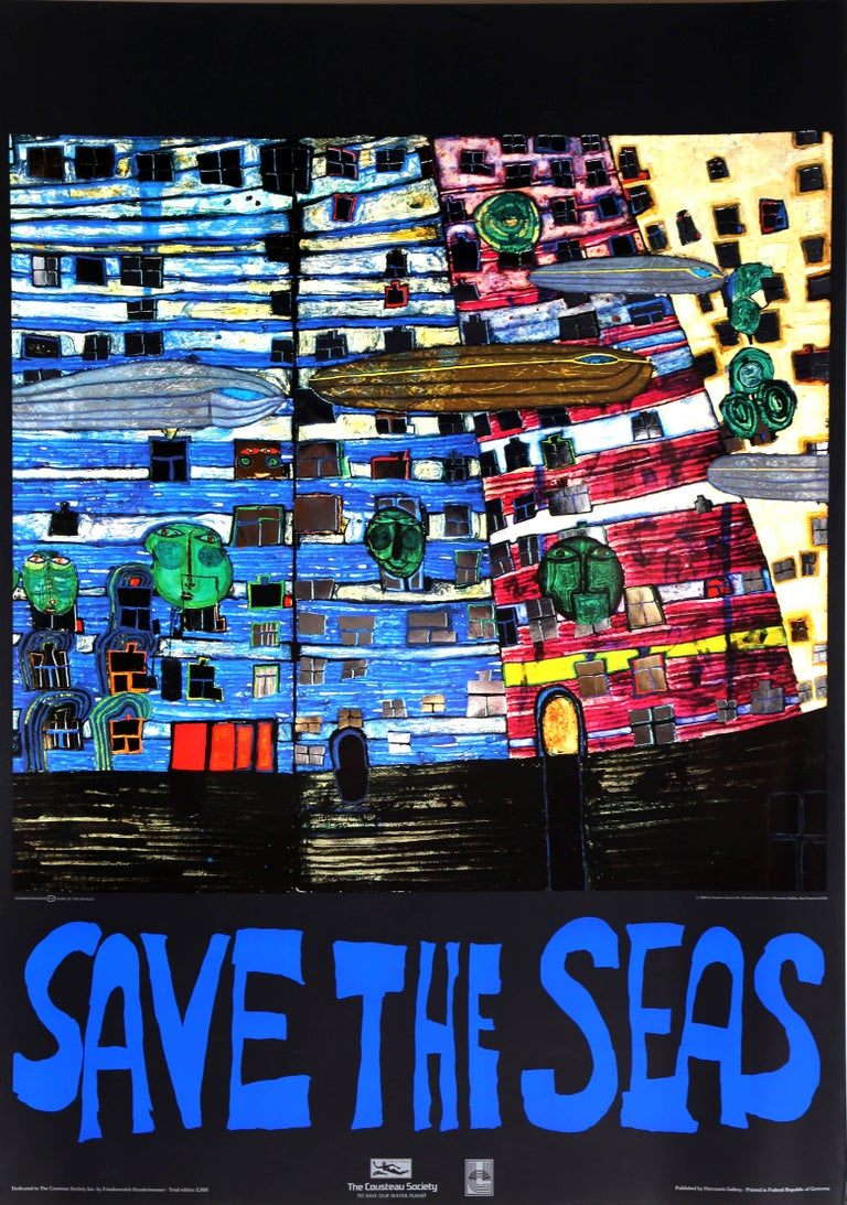 Friedensreich Hundertwasser Figurative Print - Save the Seas, Foil Embossed Poster, by Hundertwasser 1982