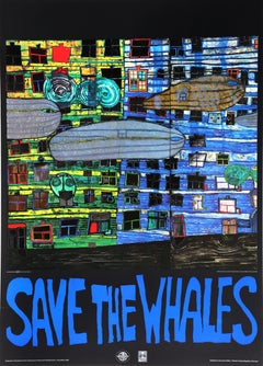 Save the Whales, Foil Embossed Poster, by Hundertwasser 1982
