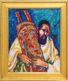 Rabbi holding the Torah, Oil Painting by Donald Roy Purdy