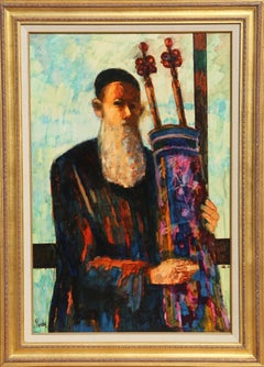 Rabbi with Torah, 1970s Oil Painting by Donald Roy Purdy