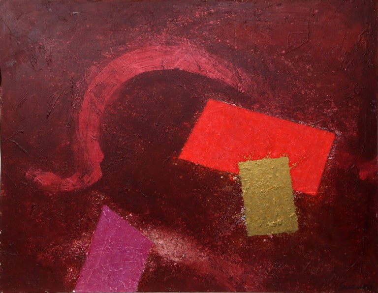 Instability, Red and Gold Acrylic Painting by James Suzuki