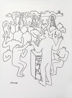 Headless, Large Drawing on Canvas by Mark Kostabi