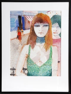 Red Head, Watercolor Painting by Charles Levier