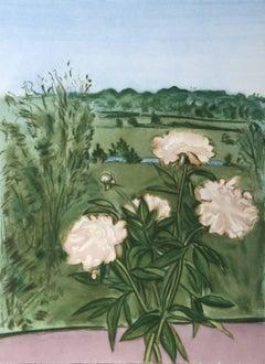Peonies (Color), Aquatint by Jane Freilicher
