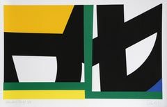 Yellow Green, Geometric Abstract Silkscreen by Pierre Clerk 1981