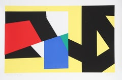Yellow, Geometric Abstract Silkscreen by Pierre Clerk 1981