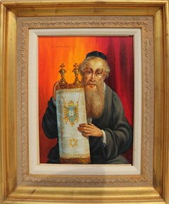 Rabbi and Torah, Oil Painting by Abraham Straski