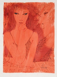 Red Lady, Watercolor Painting by Charles Levier