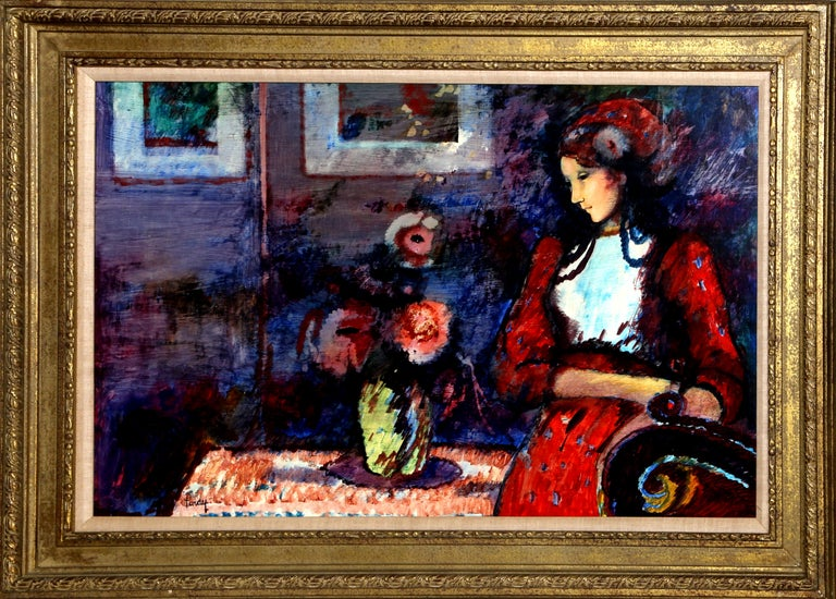 Lady in Red, Framed Oil Painting by Donald Roy Purdy
