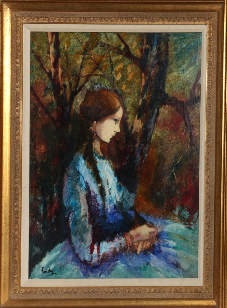 Blue Dress, Framed Oil Painting by Donald Roy Purdy