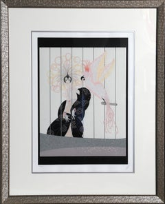 The Bird Cage, Framed Art Deco Serigraph by Erte
