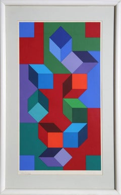 Composition, Framed OP Art Serigraph by Vasarely