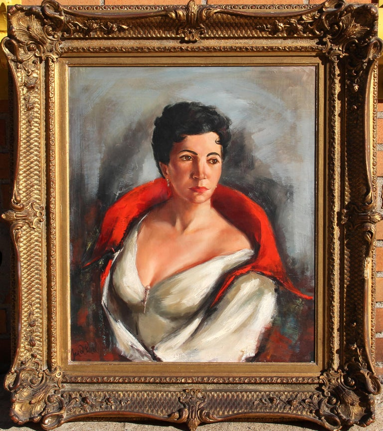 Artist: Jan De Ruth, Czech (1922 - 1991) Title: Portrait of Sonia Berg Year: circa 1950 Medium: Oil on Canvas, signed l.l. Size: 24 in. x 20 in. (60.96 cm x 50.8 cm) Frame Size: 33 x 29.5 inches