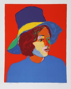 Girl with Hat IV, Silkscreen by John Grillo