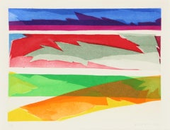 Colorful Abstract Aquatint Etching by Piero Dorazio 1971