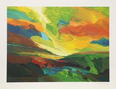 Greenfields, Colorful Landscape Lithograph by David Leverett