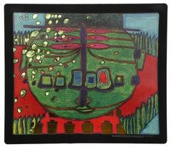 Three Eyed Green Buddha with Hat by Hundertwasser 1974