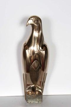 Art Deco Polished Bronze Falcon Sculpture