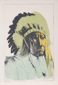 Chief American Horse - Oglalla Sioux, Lithograph by Leonard Baskin