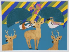 Three Deer, Pop Art Screenprint by Hunt Slonem
