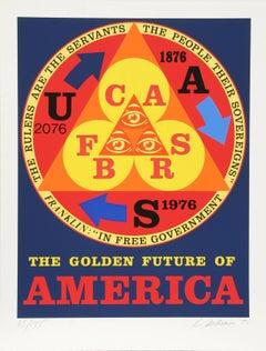 Golden Future of America, Pop Art Silkscreen by Robert Indiana