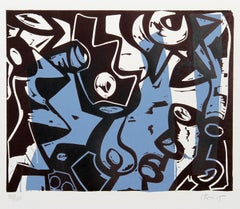 Colorful Abstract Woodblock Print by Charlie Hewitt