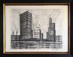 United Nations, Cityscape Etching by Bernard Buffet