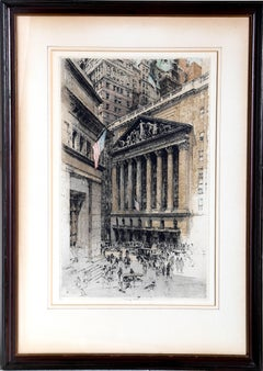New York Stock Exchange, Colored Etching by Luigi Kasimir circa 1936