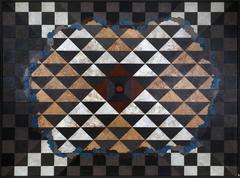 Abstract with Checker Pattern, Large Painting by Dan Teis