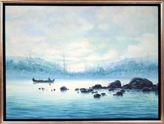 Canoe on Blue Lake, Oil Painting by Tarallo