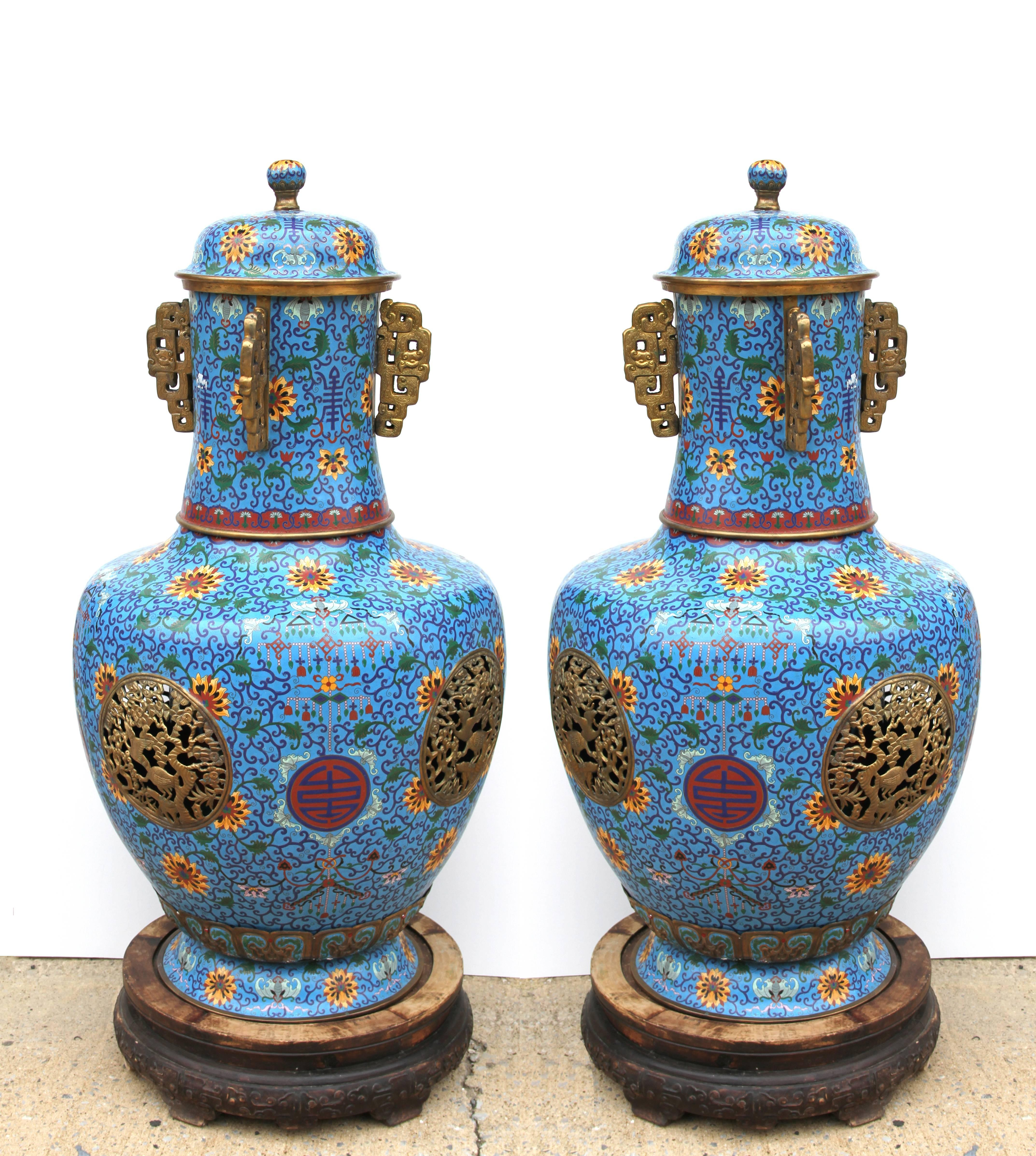 Pair of Chinese Cloisonne Tall Incense Urns (Censers)