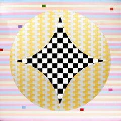 Abstract with Checkers, Large Geometric Abstract Painting by Max Epstein 1974