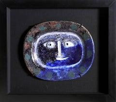 Pablo Picasso, Visage Brun-Bleu (Ramie 2), White Earthenware Clay Plate 1947