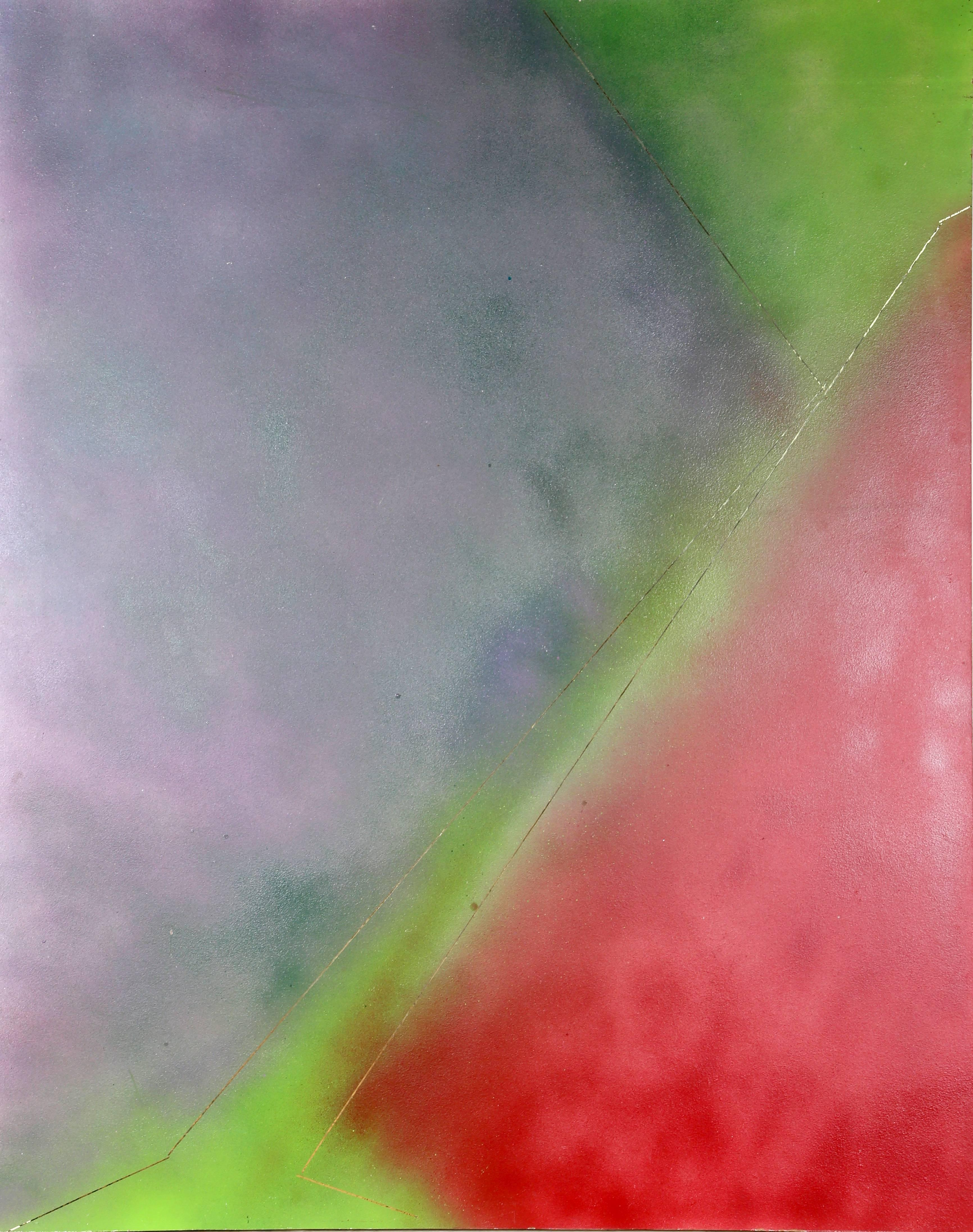 Abstract in Purple, Green and Red
