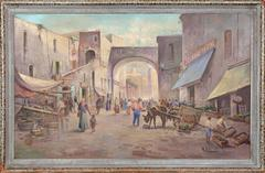 Village Market, Large Italian Painting by Colucci