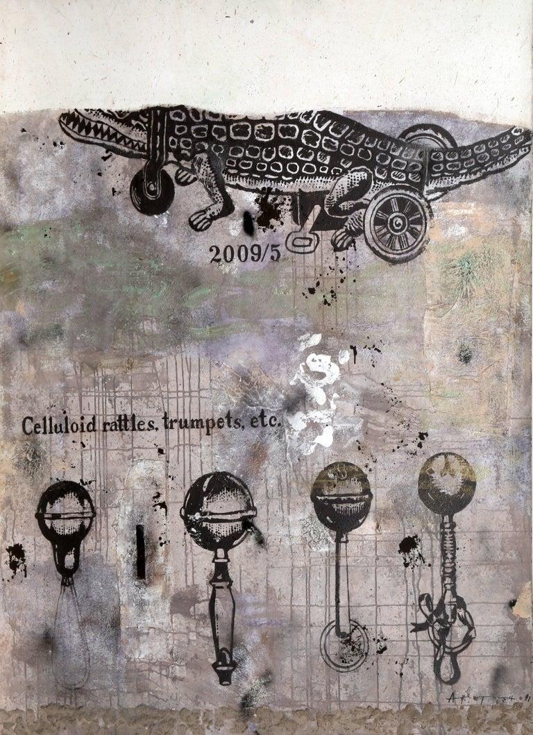 Anton Solomoukha Animal Painting - Alligator, Celluloid, Rattles, Trumpet