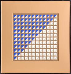 Abstract Geometric in Blue and White