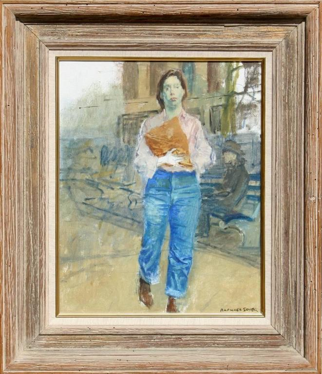 Artist: Raphael Soyer, American (1899 - 1987) Title: Woman on Street Year: circa 1960 Medium: Oil on Canvas, signed l.r. Size: 20 in. x 16 in. (50.8 cm x 40.64 cm) Frame Size: 24.5 x 20 inches