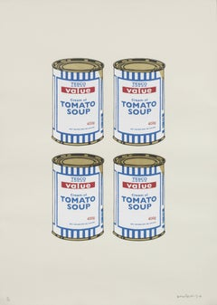 Four Soup Cans (Gold on Cream)