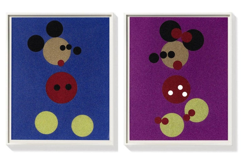 Damien Hirst Figurative Print - Mickey (Blue Glitter) & Minnie (Pink Glitter) two artworks