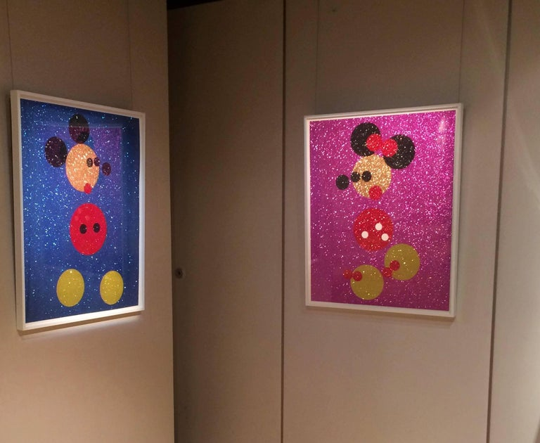 Mickey (Blue Glitter) & Minnie (Pink Glitter) two artworks - Print by Damien Hirst