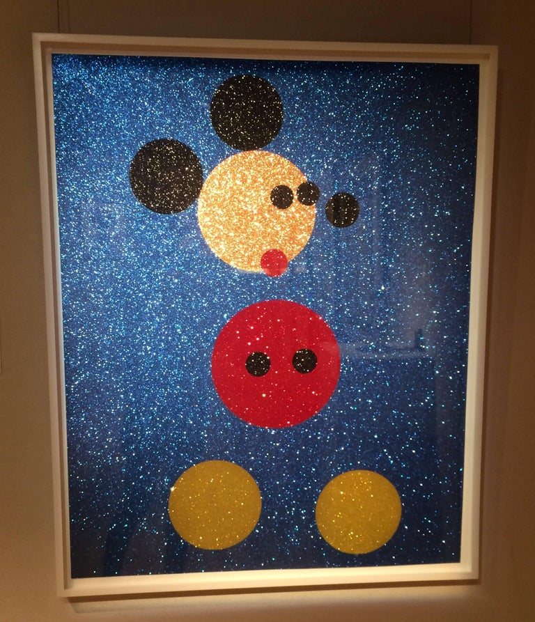 Mickey (Blue Glitter) & Minnie (Pink Glitter) two artworks - Purple Figurative Print by Damien Hirst