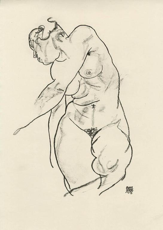 """E. Strache, Handzeichnungen folio, """"Standing Female Nude"""" Collotype plate"""