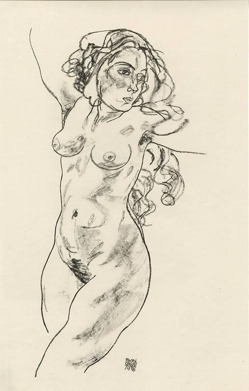 """E. Strache, Handzeichnungen folio, """"Female Nude, Walking"""" Collotype plate"""