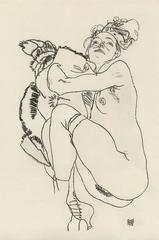 """E. Strache, Handzeichnungen folio, """"Reclining Female Nude Glancing Up"""" Collotype"""