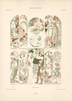 """Gerlach's Allegorien Plate #83: """"Seasons"""" Lithograph by Carl Otto Czeschka"""
