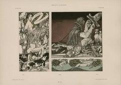 """Gerlach's Allegorien Plate #85: """"Hunting"""" Lithograph by Carl Otto Czeschka"""